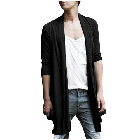 Men Shawl Collar High-Low Hem Long Cardigan 2-COLORS