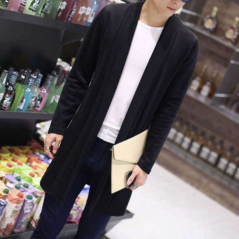 Knitted Sweater Men Long Loose Sweater Casual Cardigan