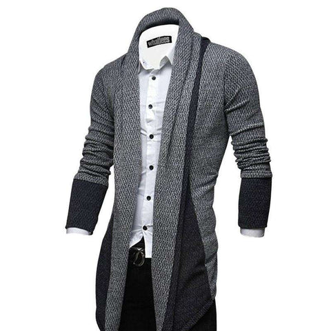 Casual Men Long Patchwork Sweaters Shawl Collar