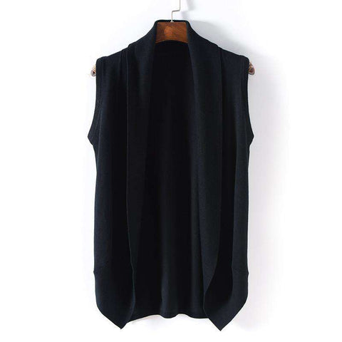 Sleeveless Sweater Vest Knitting Cardigan Male Black Design