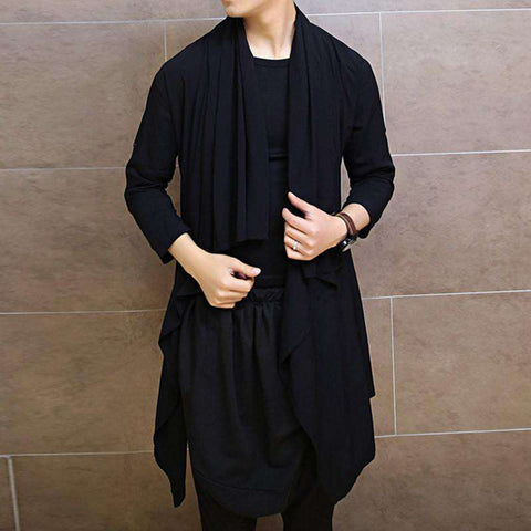 Men shirts shawl long sleeve cardigan coat casual