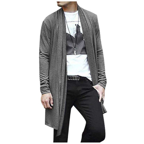 Men Shawl Collar Hem Long Cardigan Long