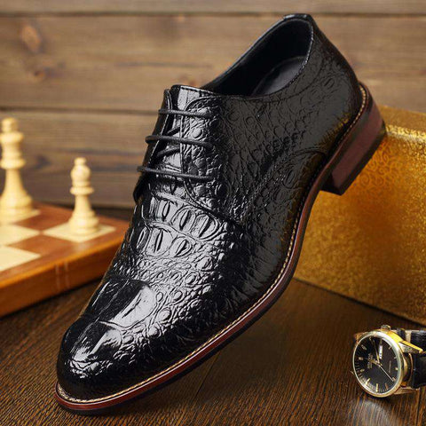 Men's Genuine Leather Crocodile Embossed Lace Up Formal Dress Shoes