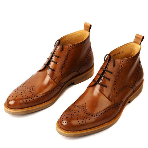 Men's Genuine Leather Durable Waterproof Lace-up Brogue Boots Brown