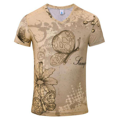 3D London New York Paris Printed T-shirt V neck Men