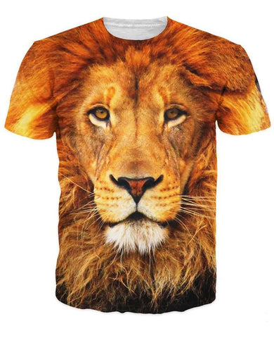 Print Lion 3D Animal T Shirt Summer Style