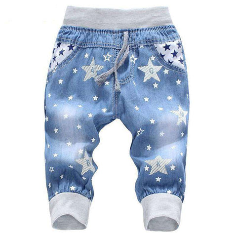 Comfortable Kids Elastic Waist Cartoon Printing Jeans