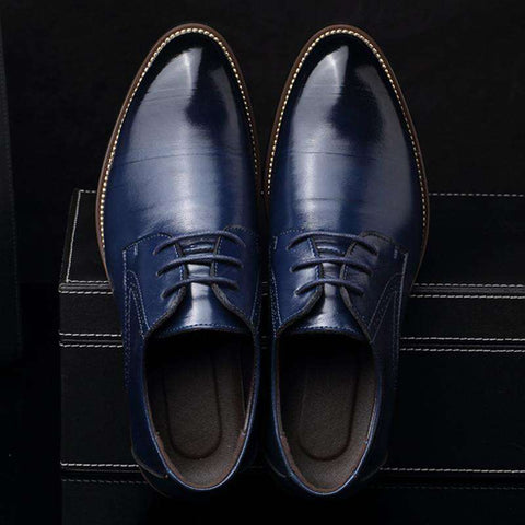Men's Real Cowhide Leather Lace Up Formal Dress Shoes Blue