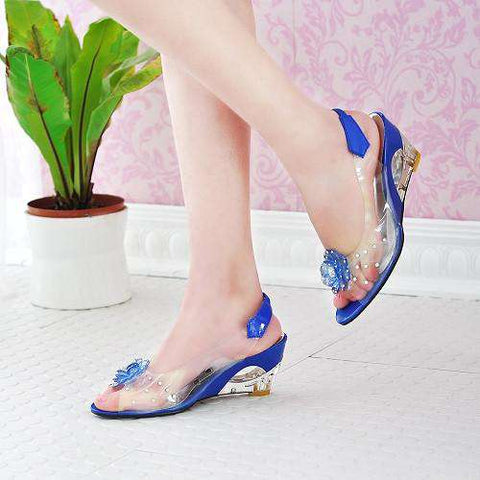 Crystal Wedges Transparent Women high-heeled jelly shoes