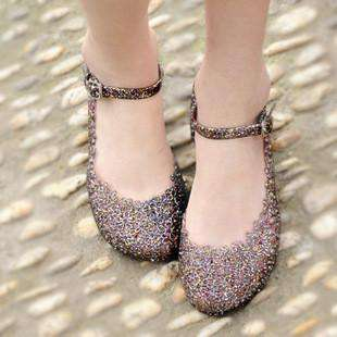 Wedges women jelly Sandals cutout crystal plastic flower