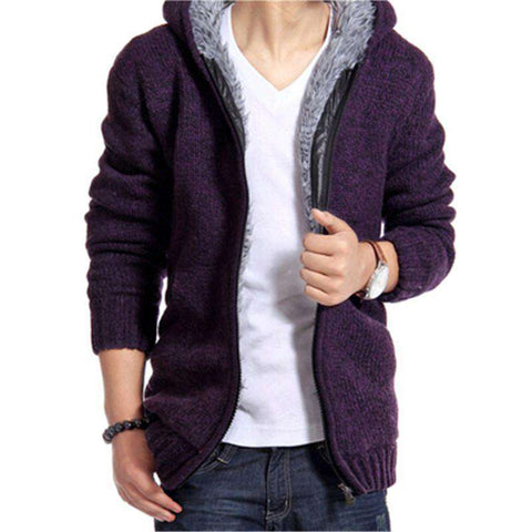 Casual Hooded Zip Cardigan Hedging Men's Sweater