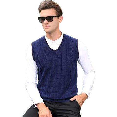 Casual V-neck Plaid Business Wool Blue Gray Vest Sweater men's
