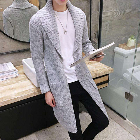 Long Cardigan Collar Sweater Slim Young Men