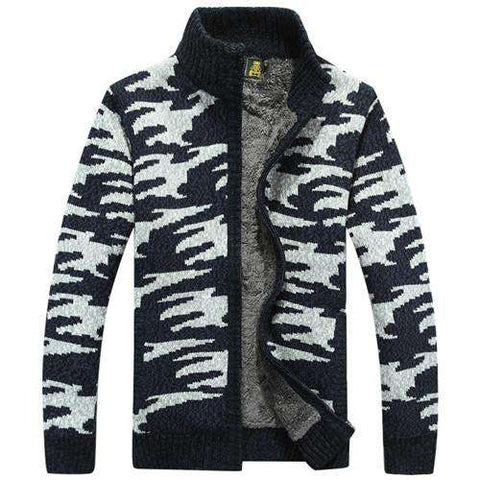 Cardigan Men Thicken Fleece Winter Sweater Pattern Print Military