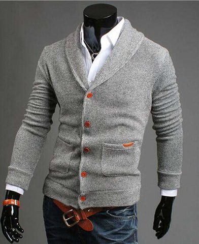 Casual Sweater Solid Single Breasted Cardigan for Men V neck slim