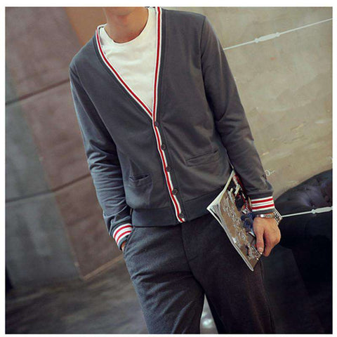 Color V-Neck Slim Fit Sweater Casual Men's Cardigans