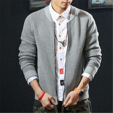 Casual Zipper Cardigan Sweater Slim Men