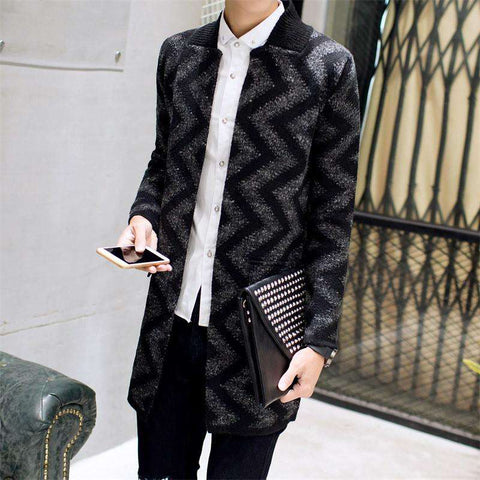 Cardigan Sweater Men Long Sweater Coat Men Casual