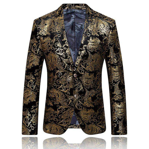 Gold Blazer Men Floral Casual Slim