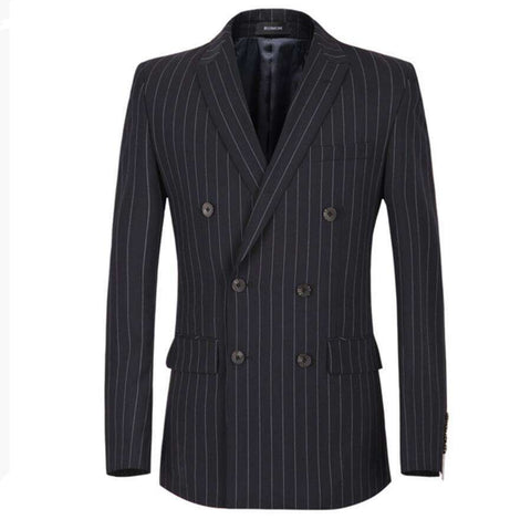Double-Breasted Stripe Lapels Men Blazer