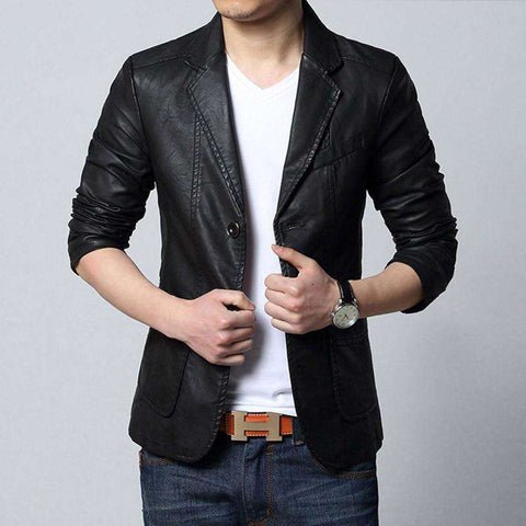 Casual Slim Fit Blazer Jacket Leather Suit For Men