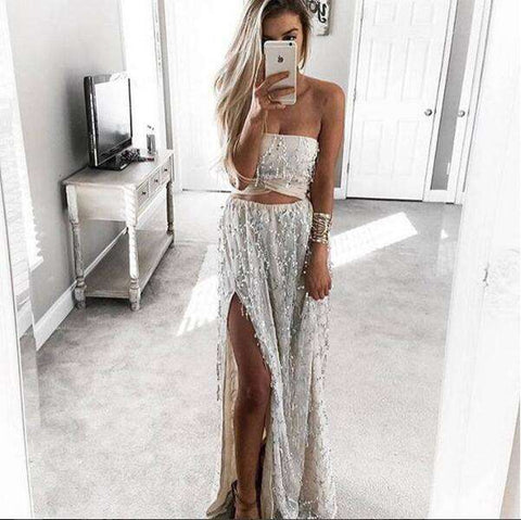 Off Shoulder Side Split Beach Party Maxi 2 Pieces Dress Silver