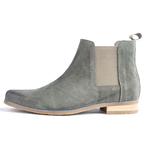 Men's Pointed Toe Genuine Leather Elastic Band Boots Grey