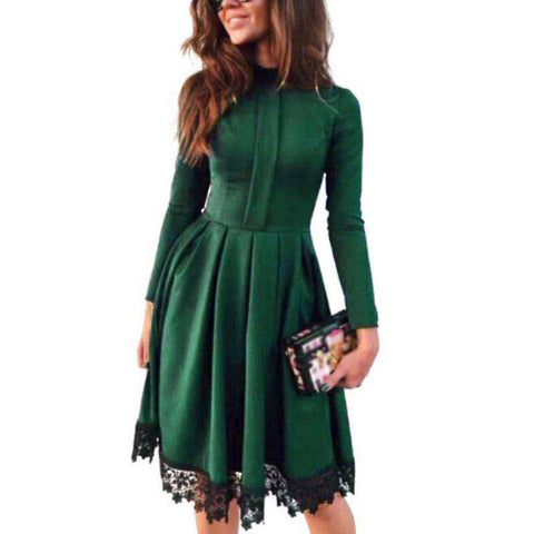 Mini A-Line Long Sleeve Stand Collar Splice Lace Party Dress