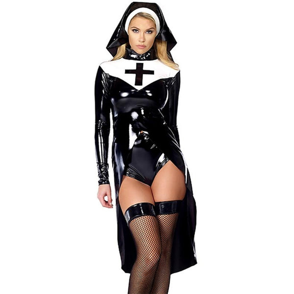 Black Nun Vinyl Leather Cosplay Halloween Costume