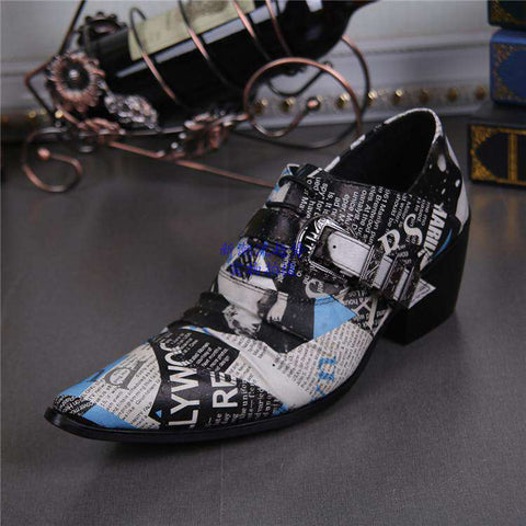 Men's Genuine Leather Print Newspaper Pointed Toe Dress Shoes White