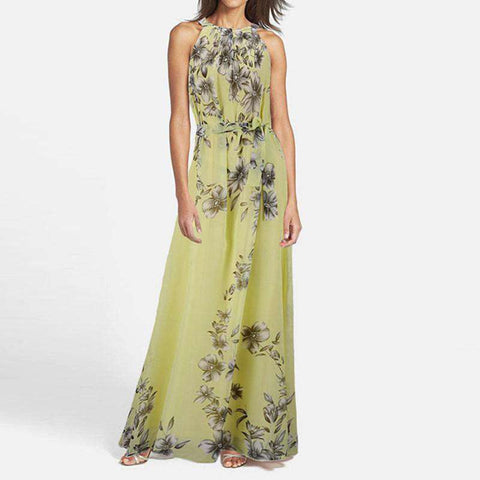 O Neck Sleeveless Floral Print Chiffon Maxi With Belt Boho Dress Lemon