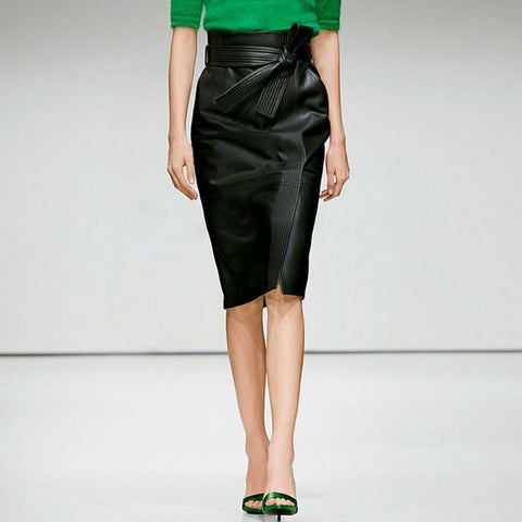 Women Sexy High Waist Faux Leather Belted Pencil Skirt Black