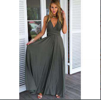 Red Party Beach Long Convertible Wrap Maxi Dress