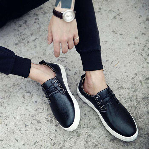 Pu Leather Casual British Low Lace Up Flat Black White Shoes For Men