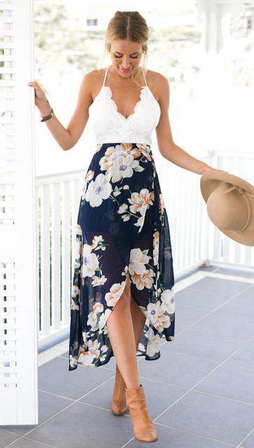 V-Neck High Low Dress