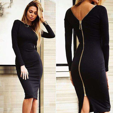 Long Sleeve Backless Bandage Back Zipper Pencil Dress Black