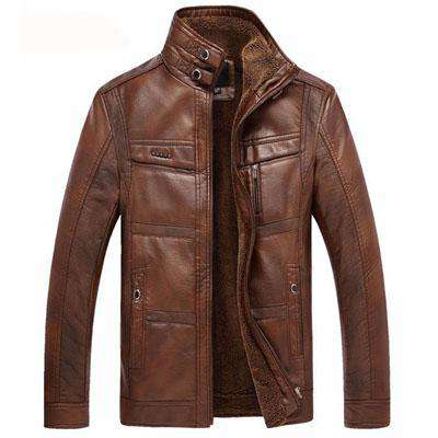 PU Leather Winter Faux Fur Jacket Men