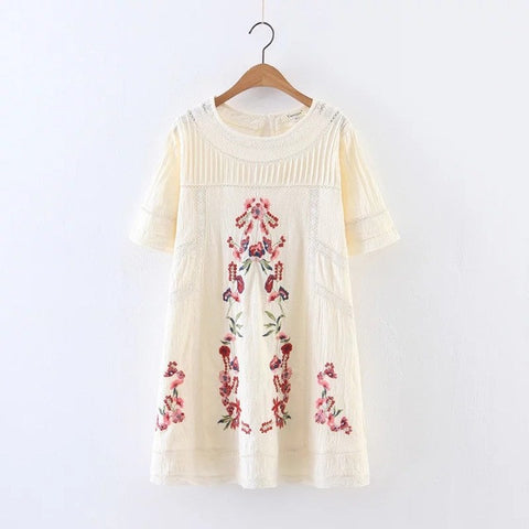Women Boho Short Sleeve Round Neck Mini Dress
