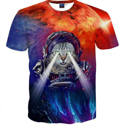 Animal Cat Space Printed Slim Fit Short Sleeves O Neck Men's T shirt