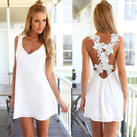 V Neck Backless Lace Crochet Chiffon Strap Mini Dress Black White