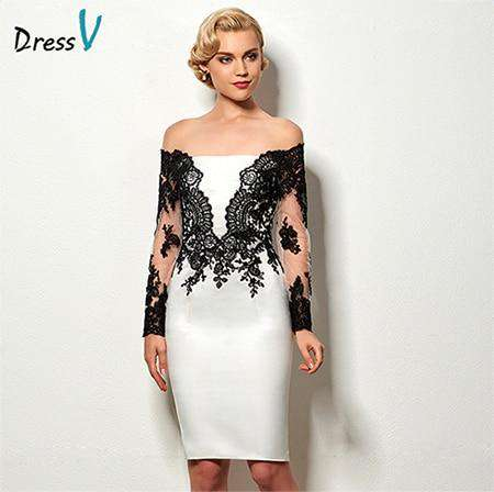 Long Sleeves Appliques Knee Length Short Cocktail Party Dress
