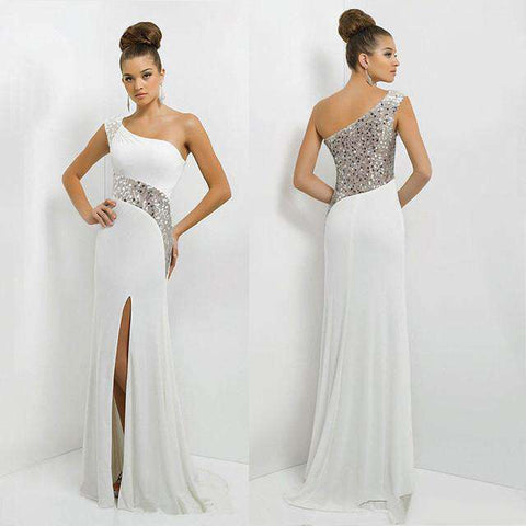 Long Maxi  Off One Shoulder Chiffon Sequins Formal Party Dress White