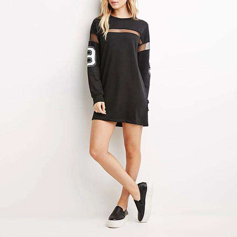 Mesh Patchwork Street Style Loose Casual Mini Dress
