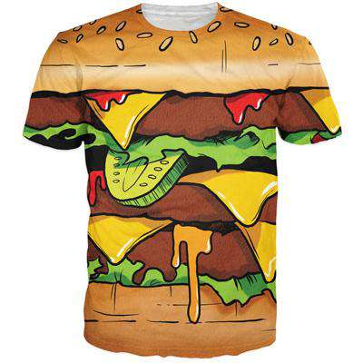Delicious Hamburger/French Fries Printed 3D T-Shirt Men