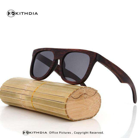 Bamboo Sunglasses Dark Brown Lens Wooden Frame For Women/Men