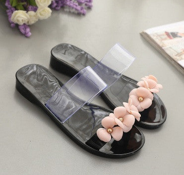 Women cute transparent crystal jelly sandals shoes