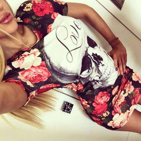 Print Skull Love Red Flower Floral Dress Women