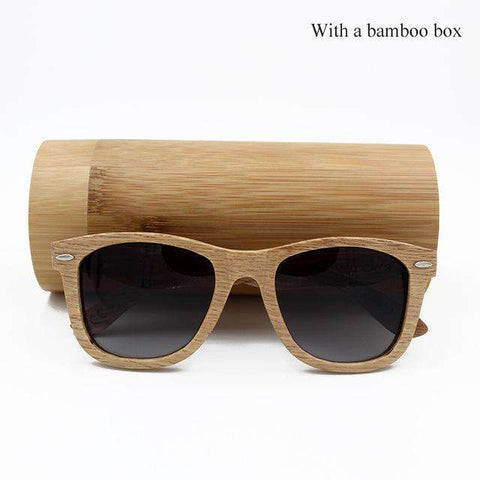 Men Wooden Frame Polarized Lens Sunglasses With Metal Spring Hinge