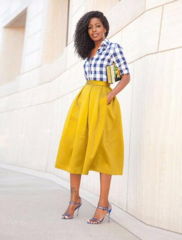 Women Trendy Mid Calf Pleated Skirt Formal Party Skirt Yellow