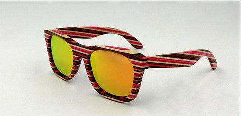 Handmade Colored Stripes Wooden Frame Sunglasses Polarized Lens Unisex